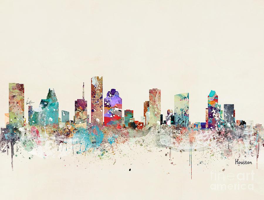 Houston Texas Skyline Painting By Bri Buckley