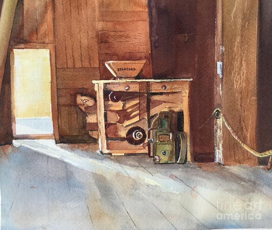 Old Farm Equipment Painting - Hovander Park Old Barn, Wa by Yohana Knobloch