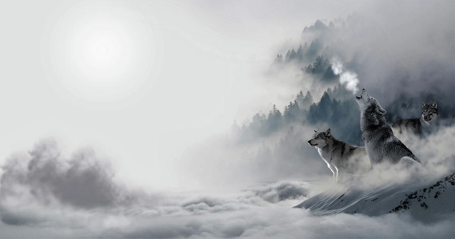 Wolf Painting - Howling by ArtMarketJapan