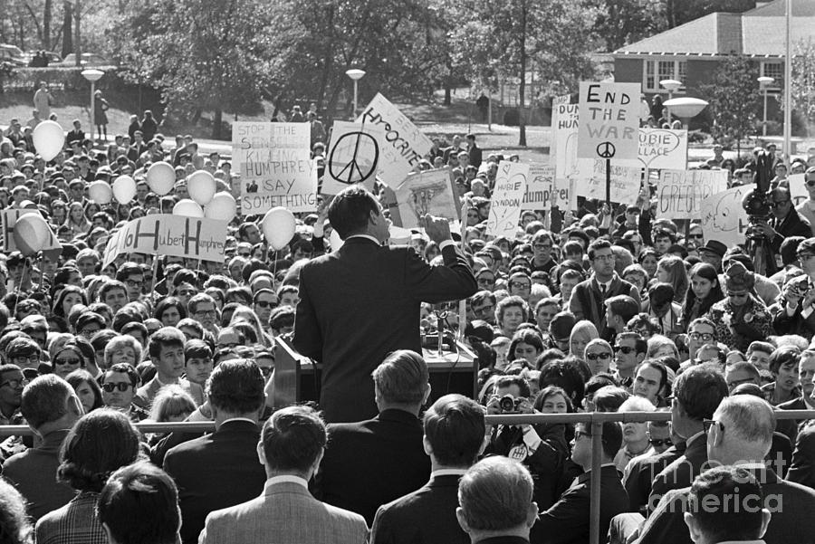 Hubert Humphrey Speaking To Crowd Photograph by Bettmann