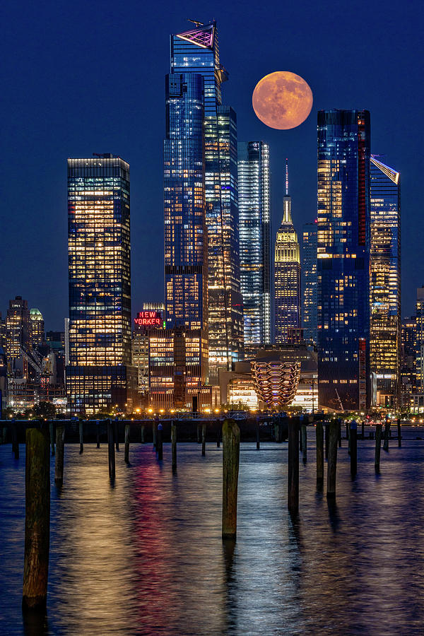 Hudson Yards NYC And Full Moon by Susan Candelario