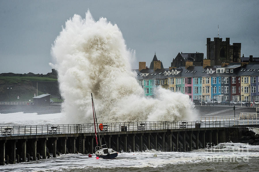 Aberystwyth Photograph - Huge Wave Hitting Aberystwyth Seafront by Keith Morris