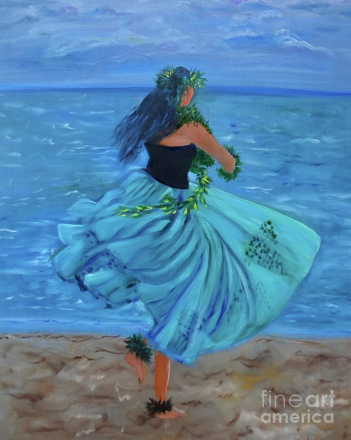 Hula Girl Painting - Hula Blues by Jenny Lee