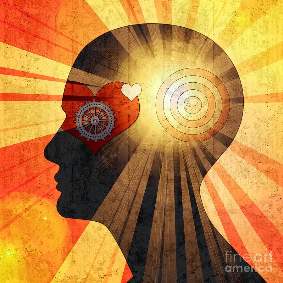 Harmony Digital Art - Human Head With Gears Heart Sun And by Patrice6000