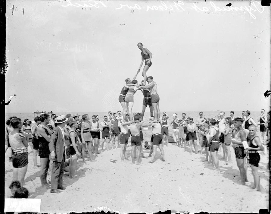 Human Pyramid At Wilson Avenue Beach by Chicago History Museum