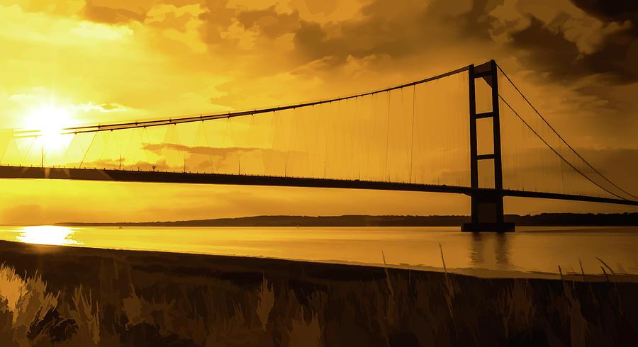 Humber Bridge Golden Sky by Scott Lyons