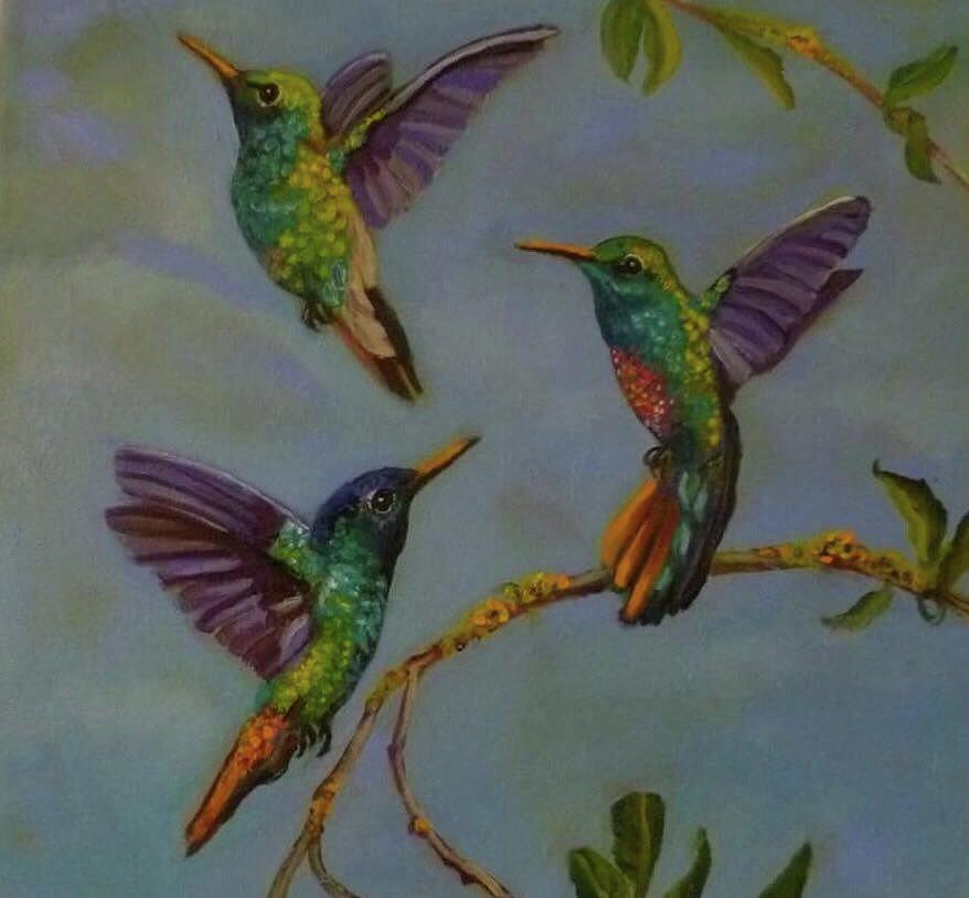 Wild Life Painting - Humming Birds by Janet Silkoff