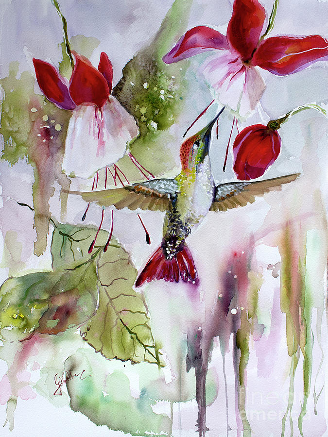 Hummingbird and flowers Painting by Ginette Callaway