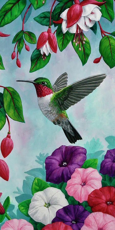 Hummingbird Flying In Spring Flower Garden 2 Painting by ...