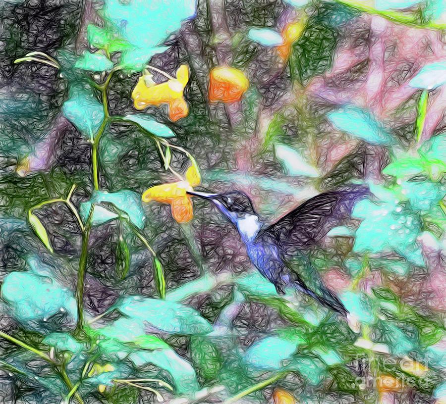 Hummingbird in the Jewelweed by Kerri Farley