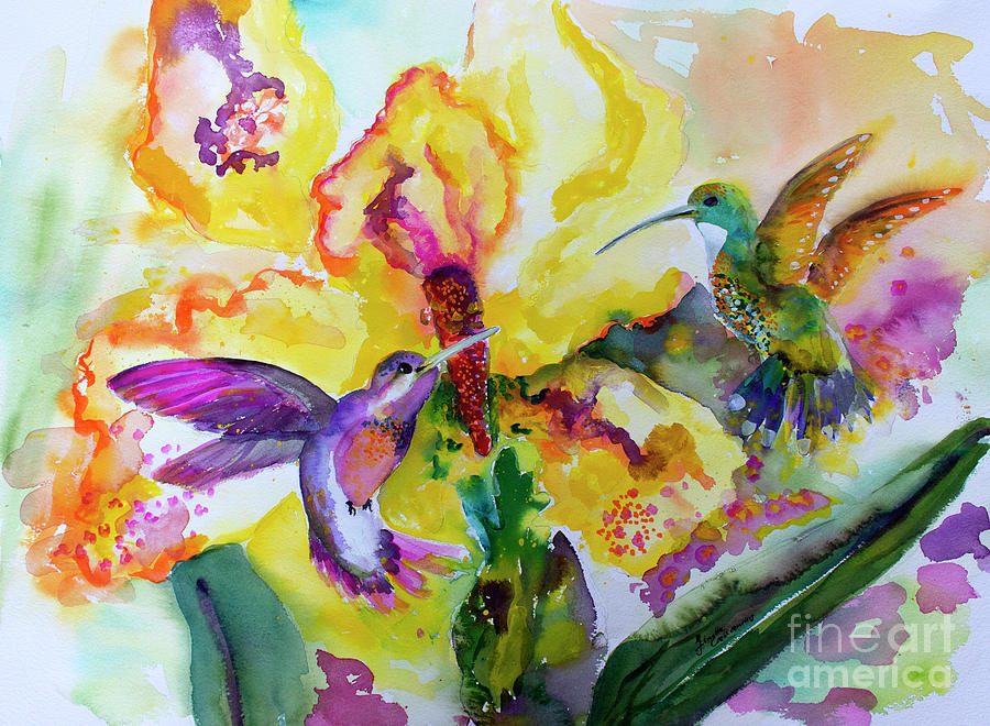 Hummingbird Song Watercolor Painting by Ginette Callaway