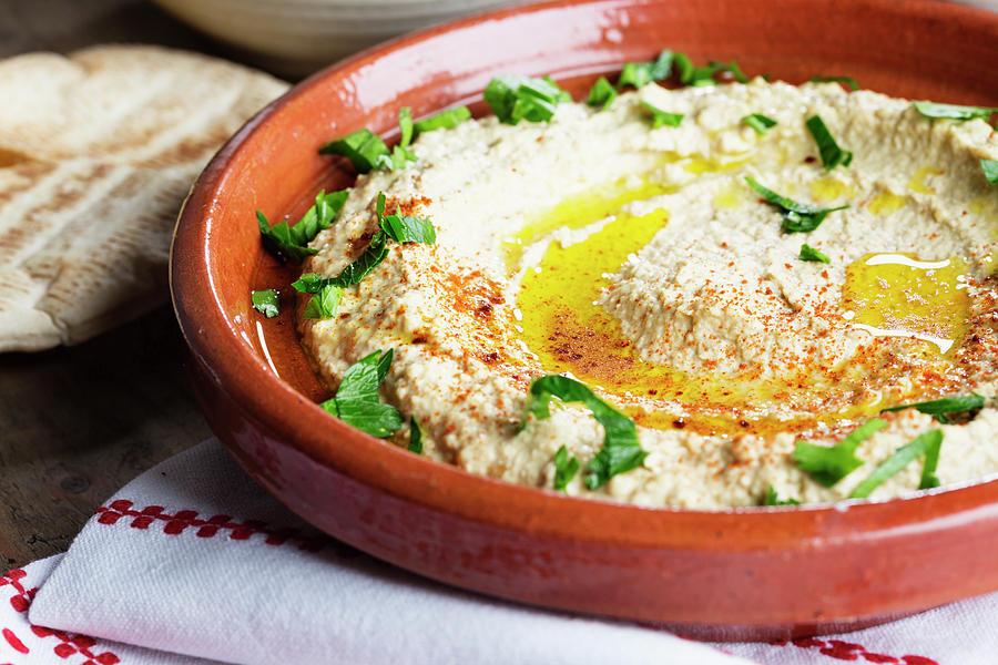 Hummus Mediterranean Style Photograph by Silvia Jansen