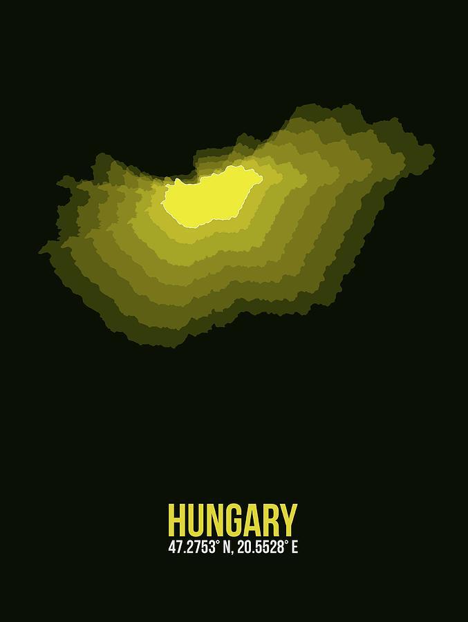 Hungarian Digital Art - Hungary Radiant Map II by Naxart Studio