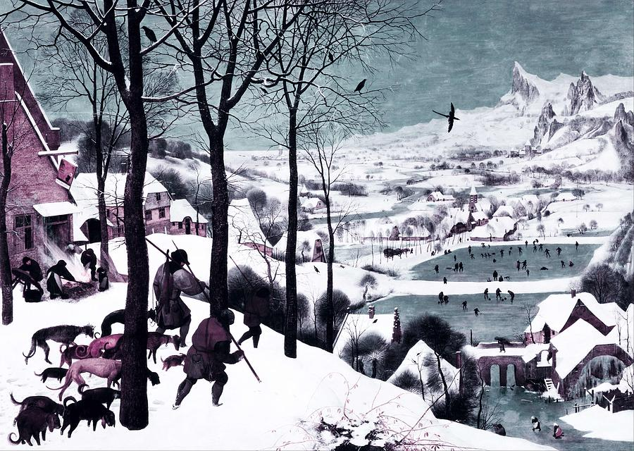Nature Painting - Hunters In The Snow By Pieter Bruegel The Elder -  Infrared Version by Celestial Images