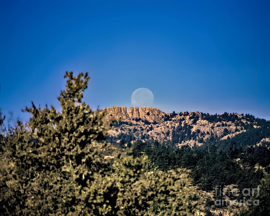 Hunters Moon Over Horsetooth Rock by Jon Burch Photography