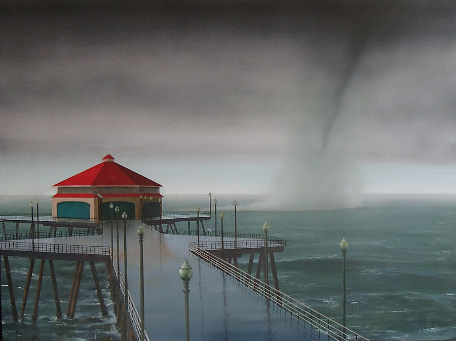 Huntington Beach Painting - Huntington Beach Pier waterspout by Philip Fleischer