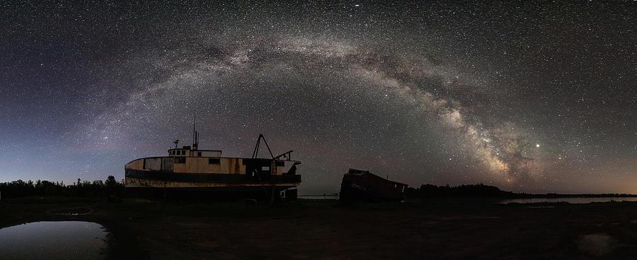 Hurkett Shipwrecks on a Late June Night Milky Way Arch PANO by Jakub Sisak