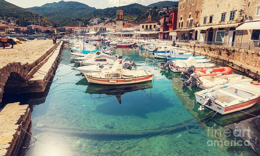 Harbor Photograph - Hydra Island, Greece by Galyna Andrushko