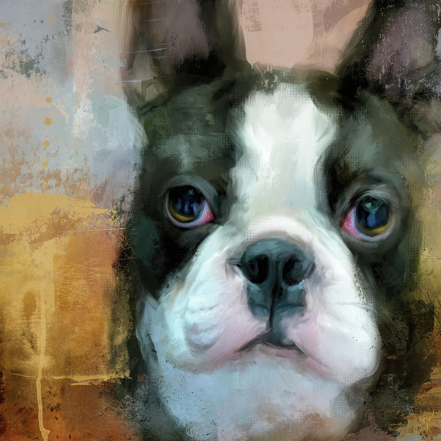 I Adore You Boston Terrier Art by Jai Johnson