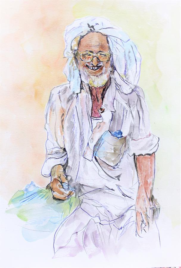 Portrait Painting - I Am Happy by Khalid Saeed