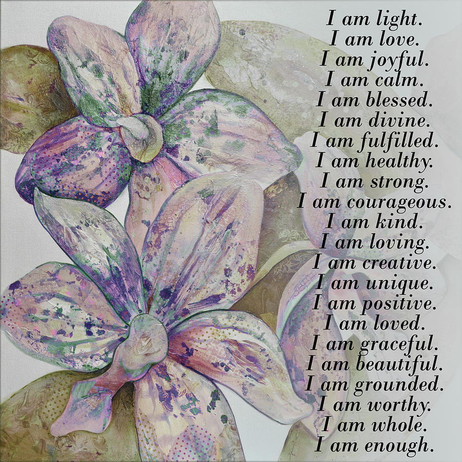 I Am Beautiful Painting - I am...positive affirmation art in lavendar and rose by Shadia Derbyshire