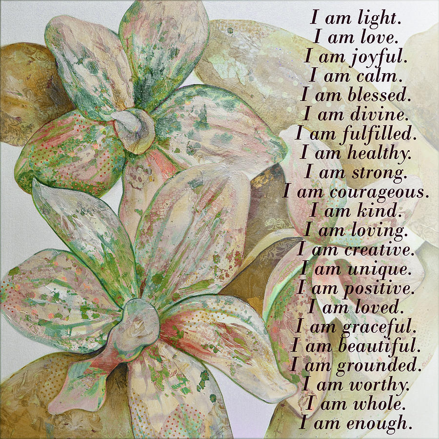 Green Digital Art - I am...positive affirmation in coral and green by Shadia Derbyshire