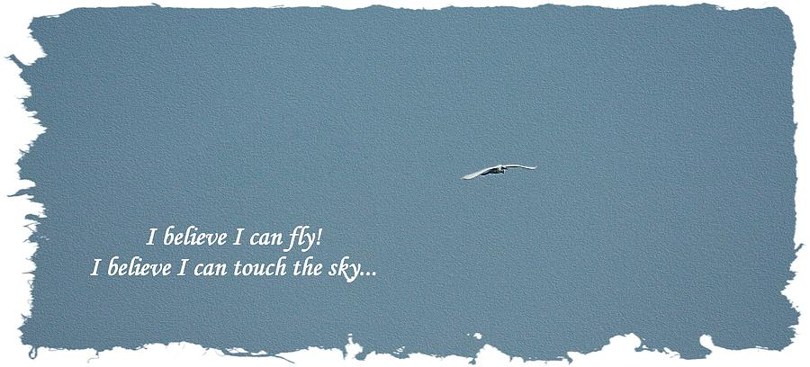 I Believe I Can Fly Teal Blue by Ellen O'Reilly