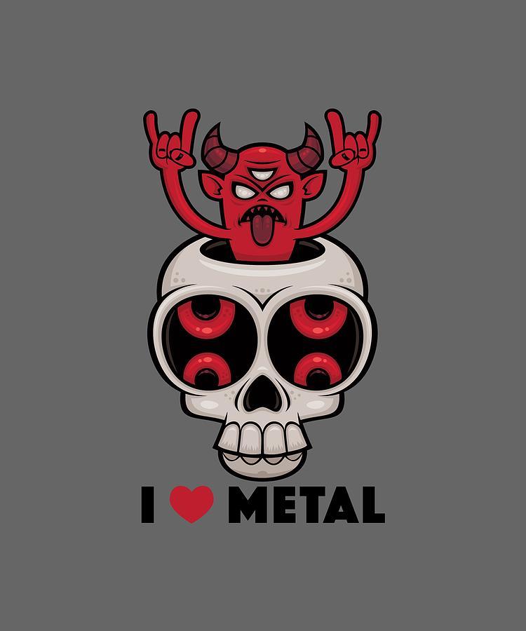 I Love Metal Possessed Skull Digital Art