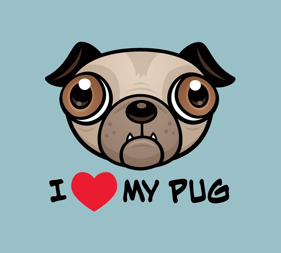 I Love My Pug Digital Art