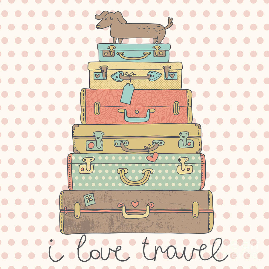 Symbol Digital Art - I Love Travel. Travel Conceptual Card by Smilewithjul