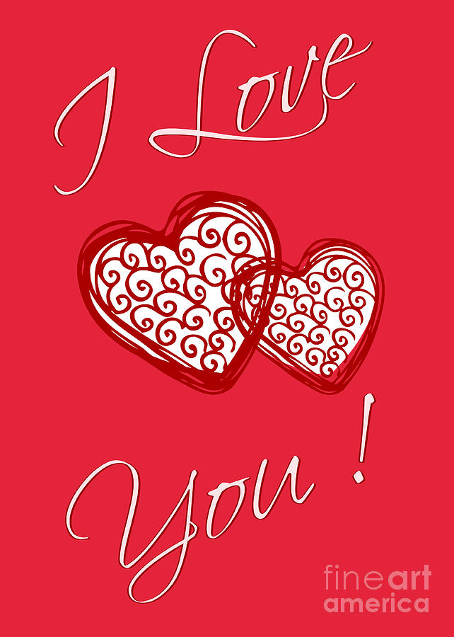 Greeting Card Digital Art - I Love You Hearts by Diann Fisher