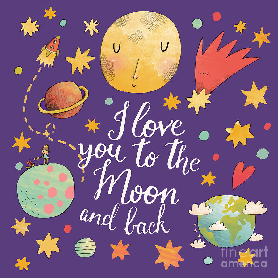 Saturn Digital Art - I Love You To The Moon And Back by Smilewithjul