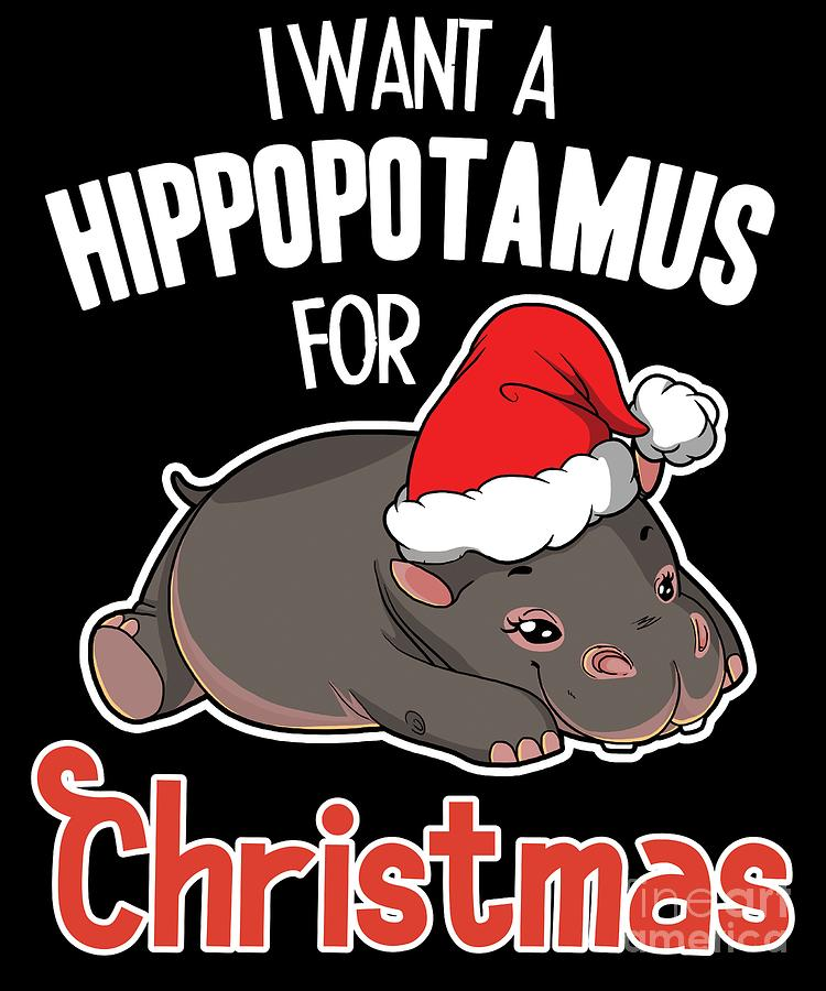 I Want A Hippopotamus For Christmas Xmas Hippo