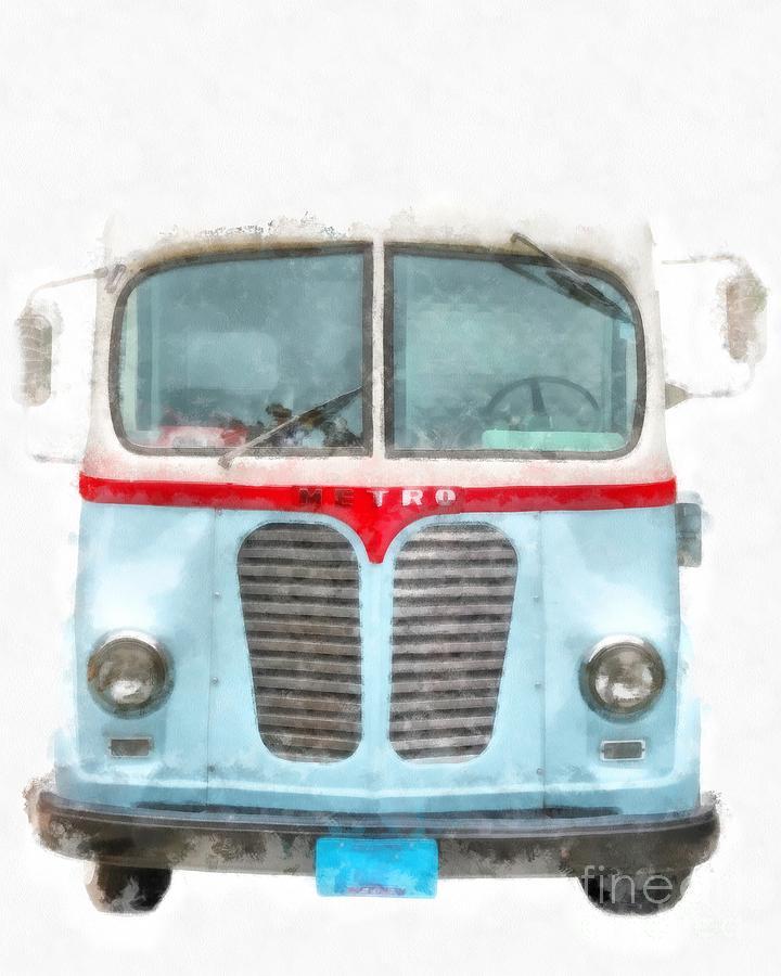 Metro Digital Art - Ice Cream Food Truck Metro Van by Edward Fielding