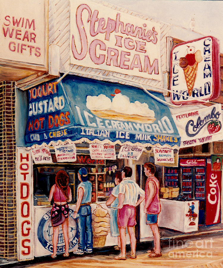 ICE CREAM SHOPS HOT DOG STANDS COLORFUL YOGURT CAFES C SPANDAU CANADIAN ARTIST FOODIE ART URBAN EATS by CAROLE SPANDAU