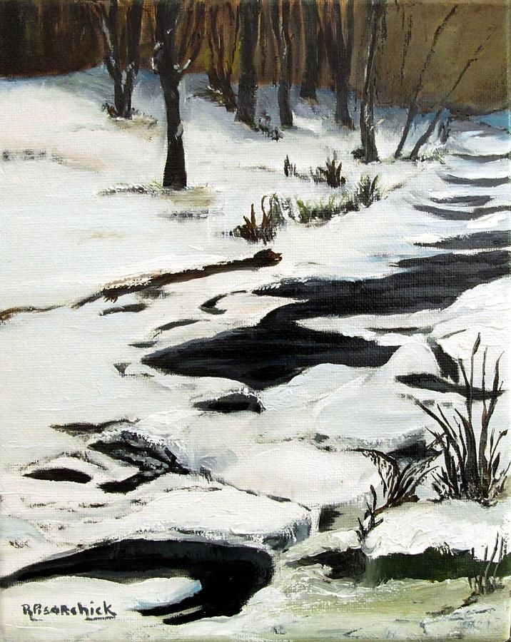 Landscape Painting - Ice Drifts On Medix Run In Winter 2 by Rosita Pisarchick