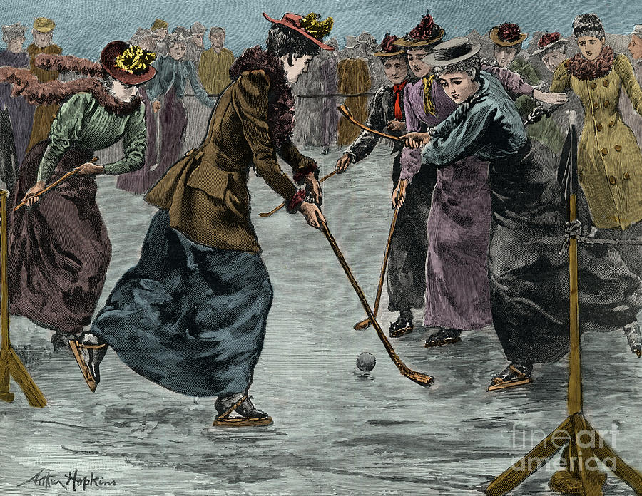 Ice Hockey Drawing - Ice Hockey  Ladies Match On The Lake In Wimbledon Park by Arthur Hopkins