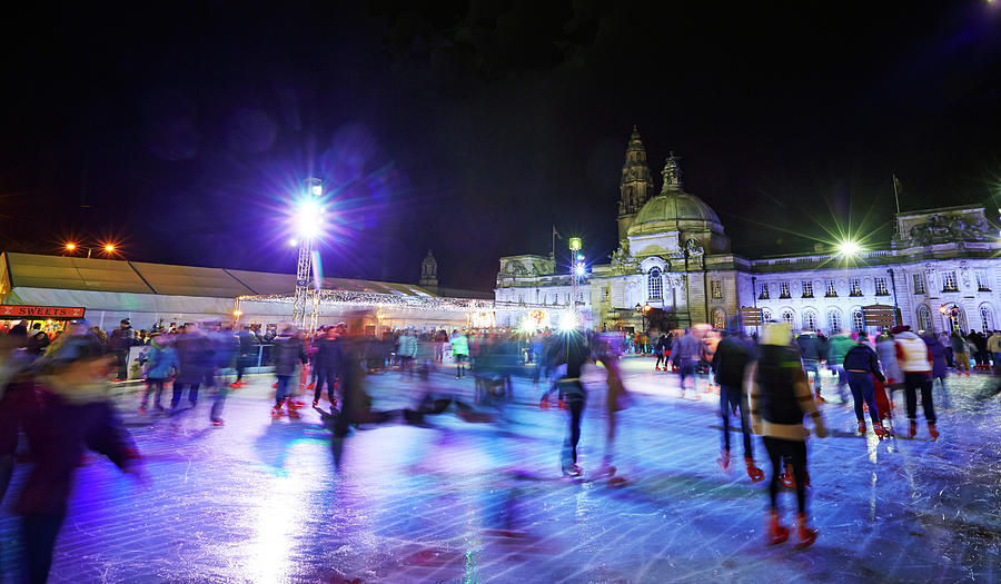 Ice Rink With Cardiff City Hall Photograph by Allan Baxter