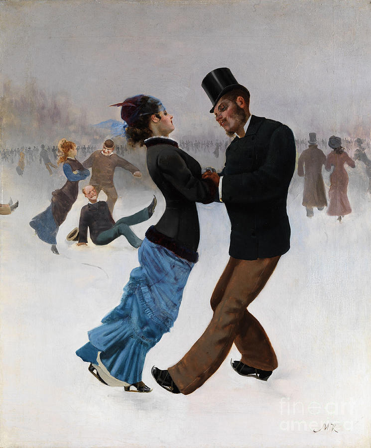 Ice Skaters, C. 1920. Artist Klinger Drawing by Heritage Images