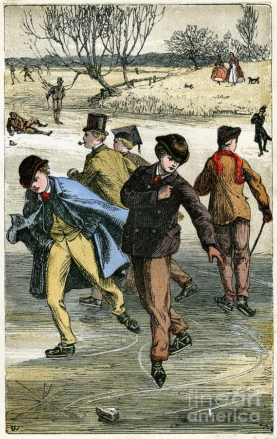 Ice Skating, 19th Century Drawing by Print Collector