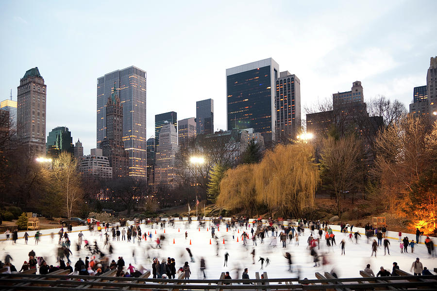 Ice Skating In Central Park Photograph by Studiokiet