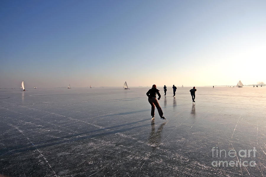 Sailboat Photograph - Ice Skating On The Gouwzee In The by Steve Photography