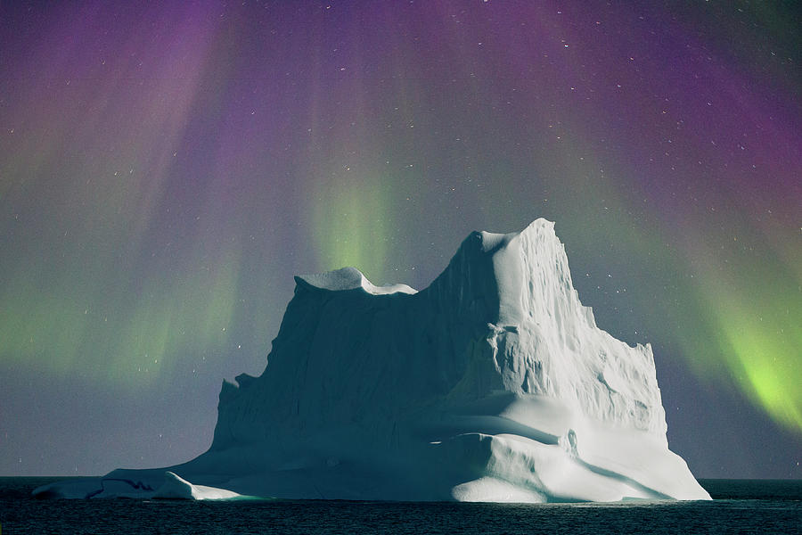 Iceberg Shrouded By Aurora Photograph by Richard Mcmanus