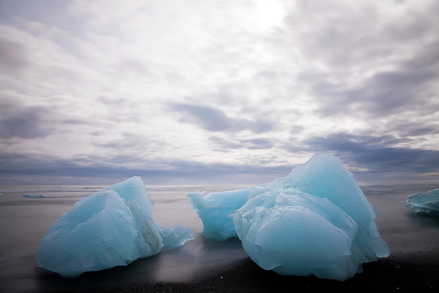 Icebergs On Beach Jokulsarlon Glacial Photograph by Peter Adams