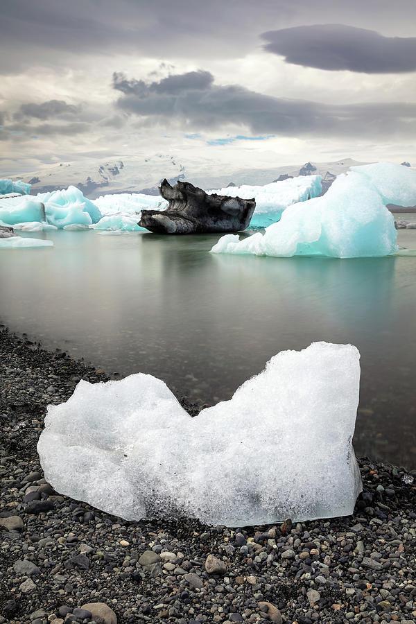 Icebergs On The Beach Of Jokulsarlon Photograph