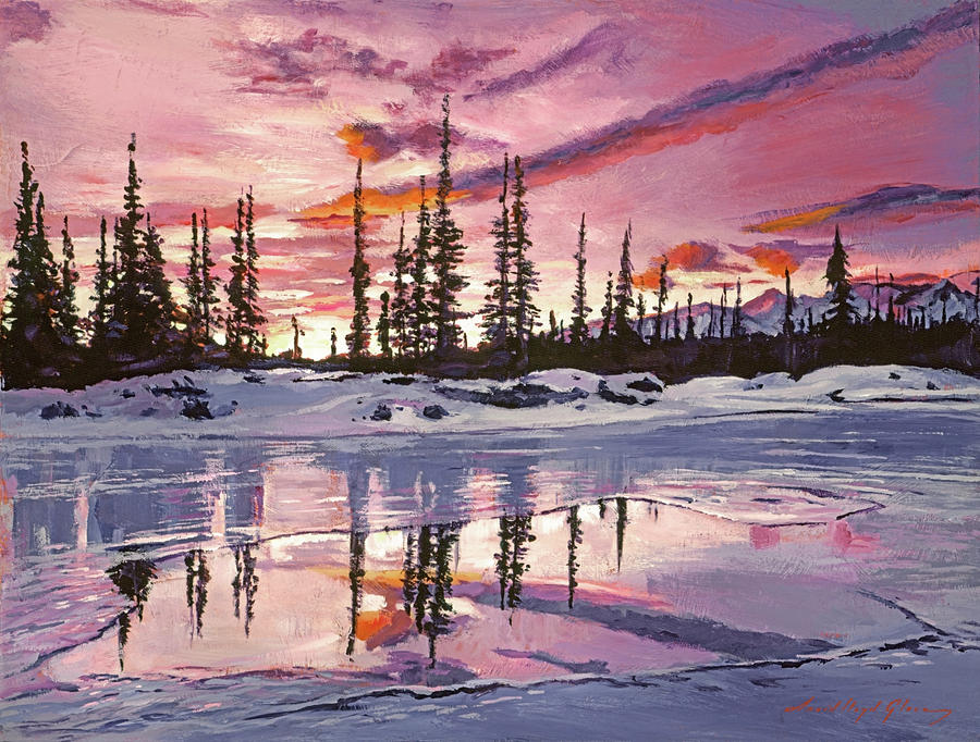 Iced Lake At Sunset Painting