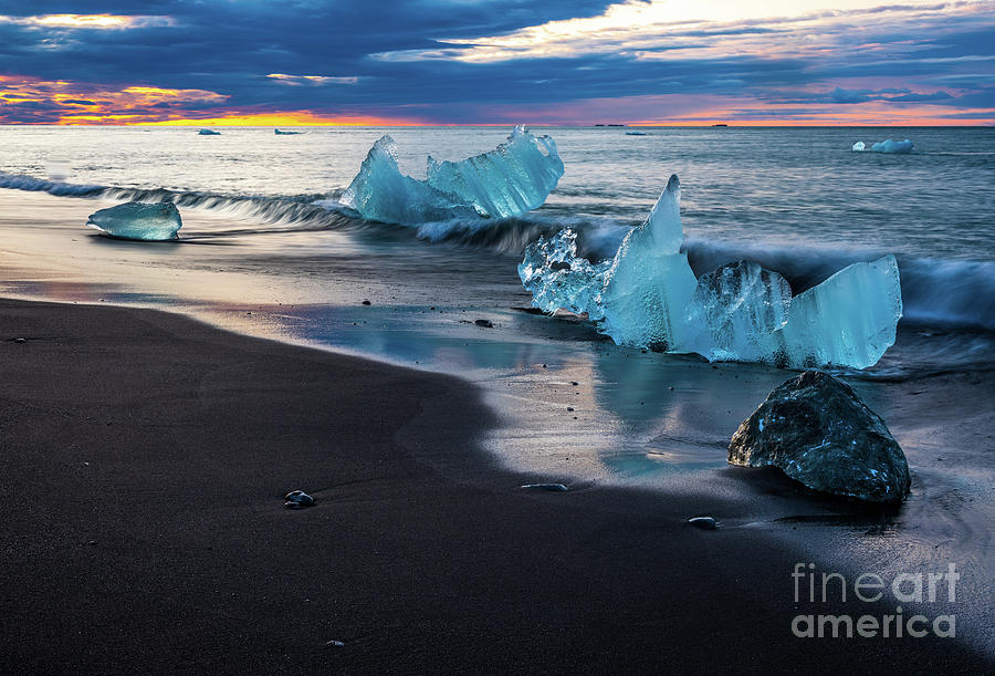 Iceland Black Sand Beaches Ice Sculptures Photograph