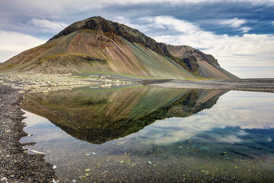 Iceland Volcanic Landscape And Reflection Photograph