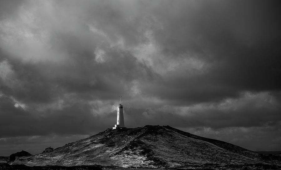 Icelandic Black and White Lighthouse by Kevin Banker