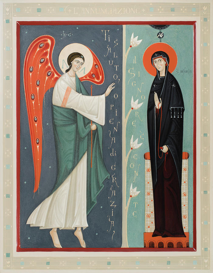 Annunciation Mixed Media - Icon Of The Annunciation  by Olga Shalamova